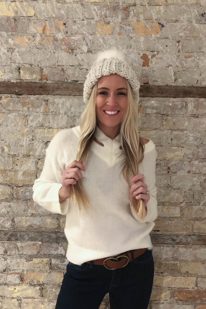 SOLD OUT   Swiss Alps Cable Knit Pom Pom Beanie Hat in Ivory – Lace ... b54ba35c11b3