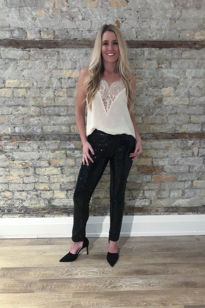 Shine On Sequin Pants in Black