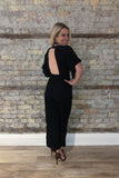 Looking Back Pocketed Jumpsuit in Black