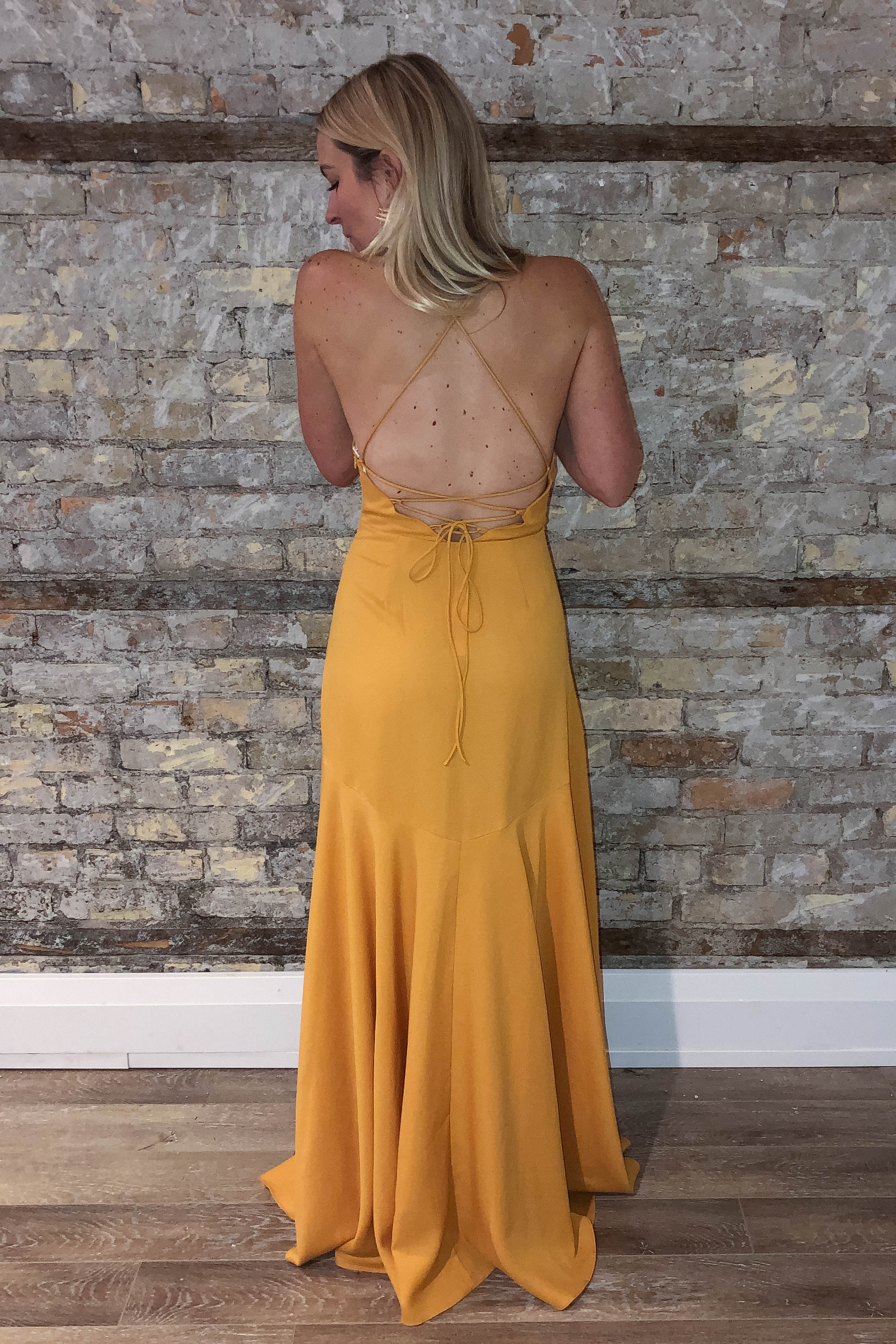 What Dreams Are Made Of Ruffle Maxi Dress in Mustard / FINAL SALE