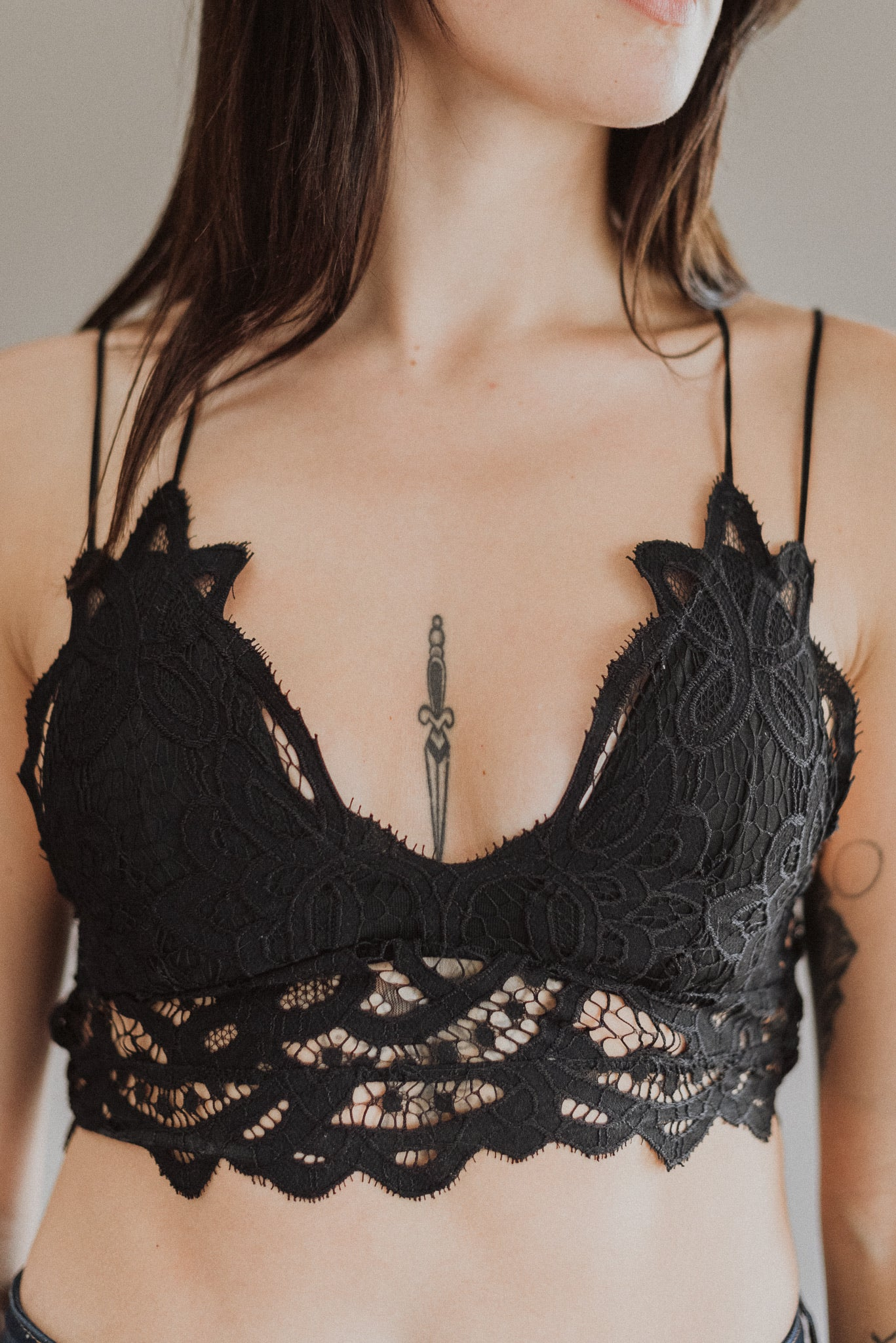 Charming in Lace Bralette in Champagne and Black