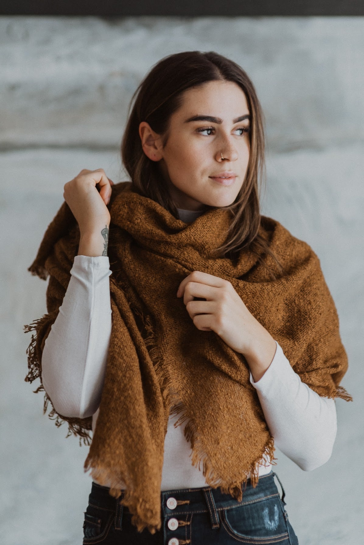 Warm Up Mohair Square Blanket Scarf in Caramel