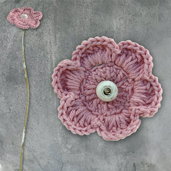 Crochet flower - dark pink petals