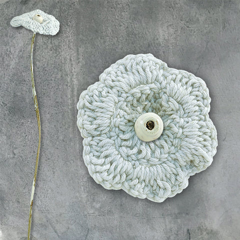 Crochet flower - mid blue petals