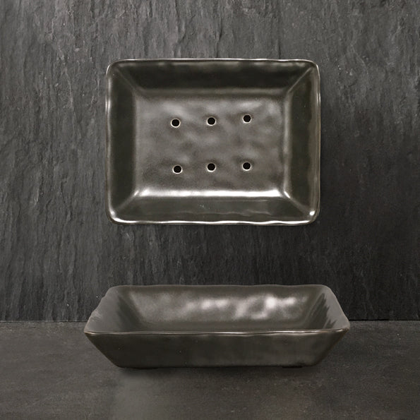 Porcelain soap dish - black