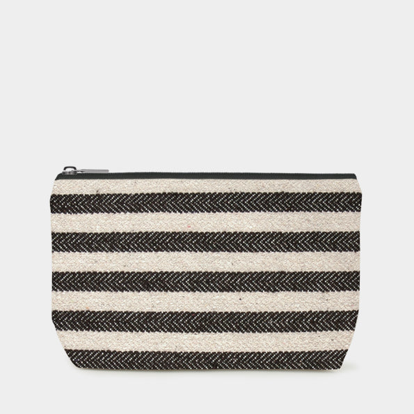 Cosmetics Bag- Wide Black Stripes