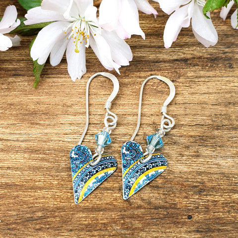 Damask Blue Heart Earrings with Crystal