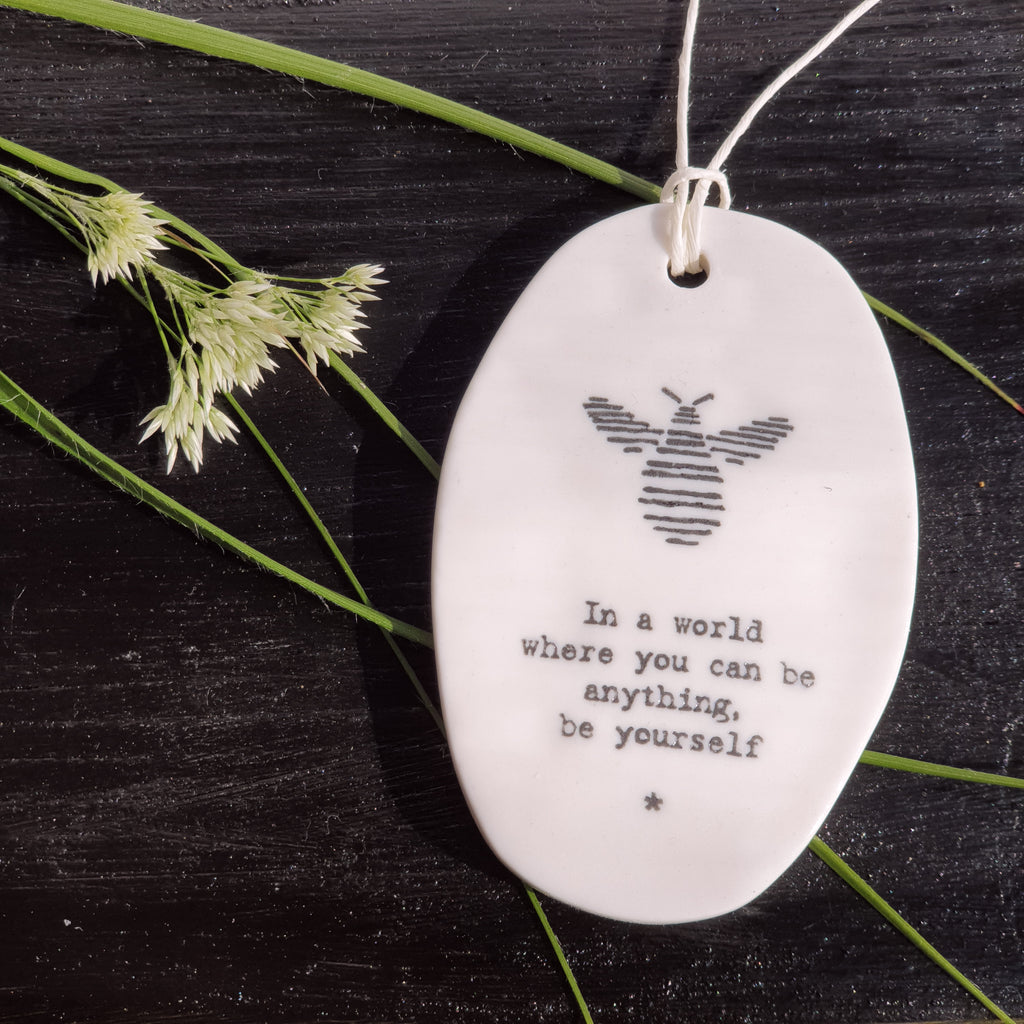 Porcelain Hanger Bee - You can be anything