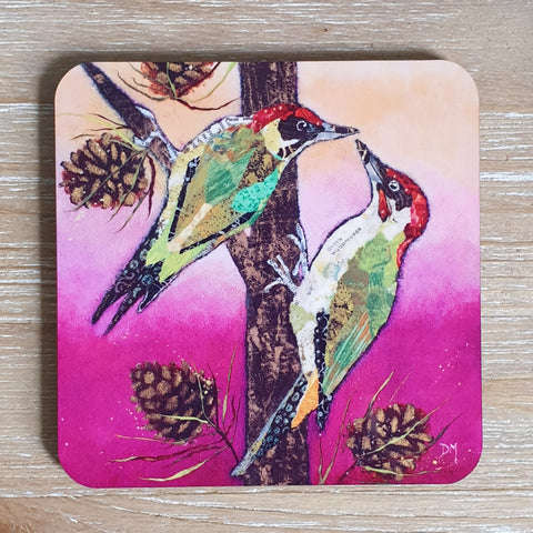 Knock Knock Woodpeckers Coaster