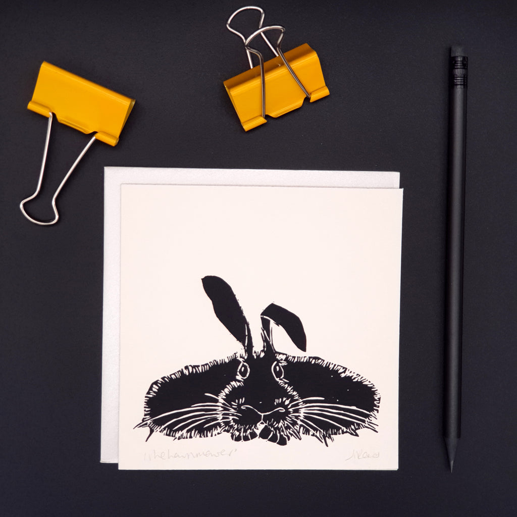 The Lawnmower - Rabbit Greetings Card