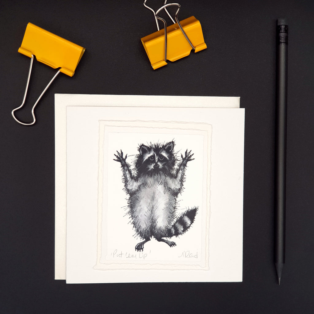 'Put 'em Up! - Racoon Greetings Card