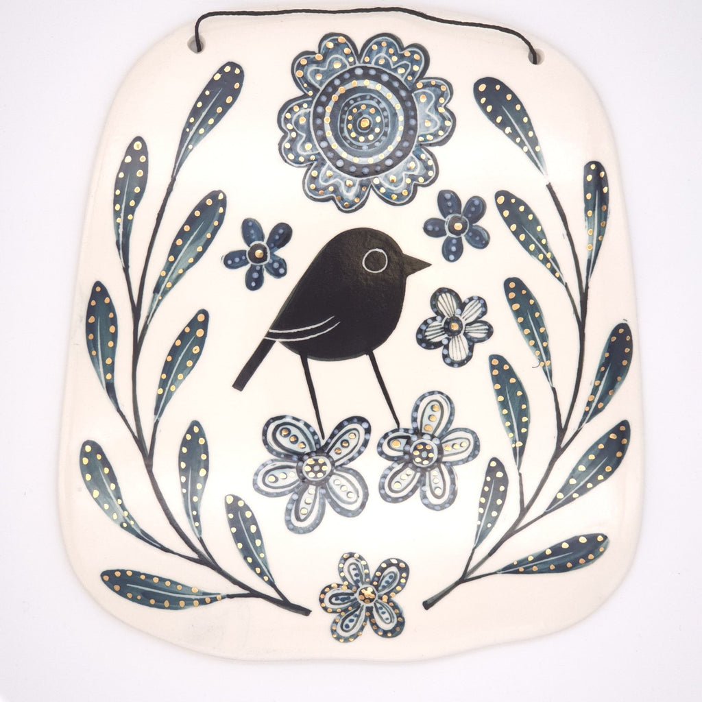 Ceramic Wall Hanging - Bird with leaves and Flora