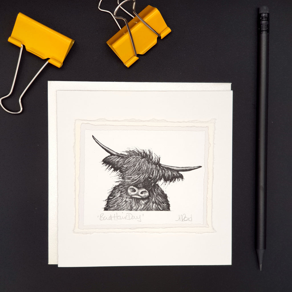 Bad Hair Day- Highland Cow Greetings Card