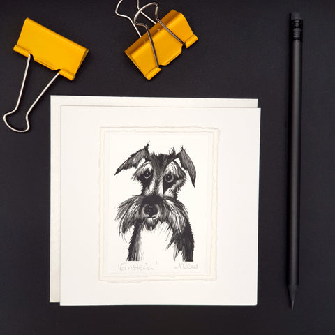 Einstein the Schnauzer Greetings Card