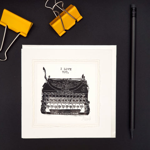 I Love You Typewriter Greetings Card