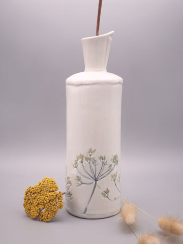 Flora and Fauna Ceramic Bottle Vase
