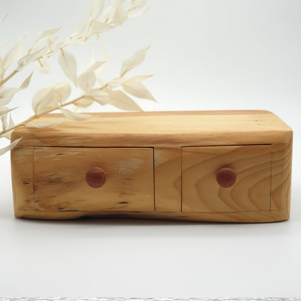 Natural edge wooden box double - Yew