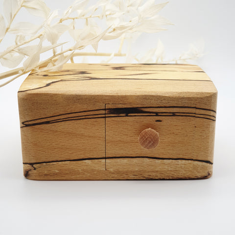 Natural edge wooden box with secret- Spalted Beech