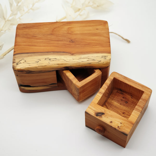 Natural edge wooden box with secret- Yew