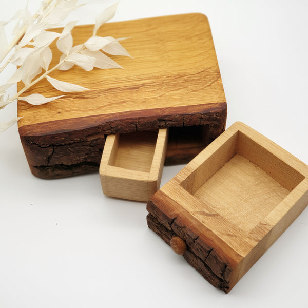 Natural edge wooden box with secret- Oak