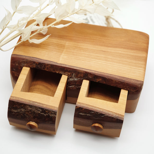 Natural edge wooden box double - Cherry