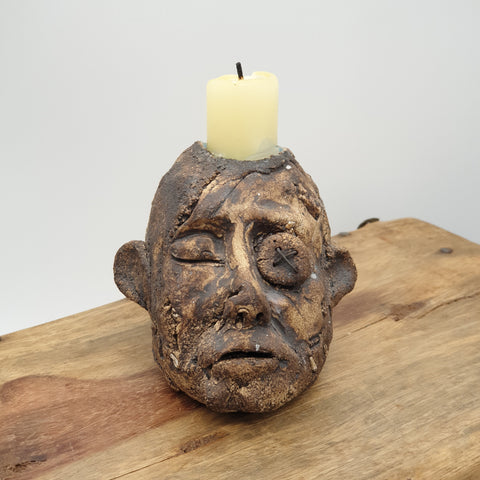 Man Head Sculpture Candlestick