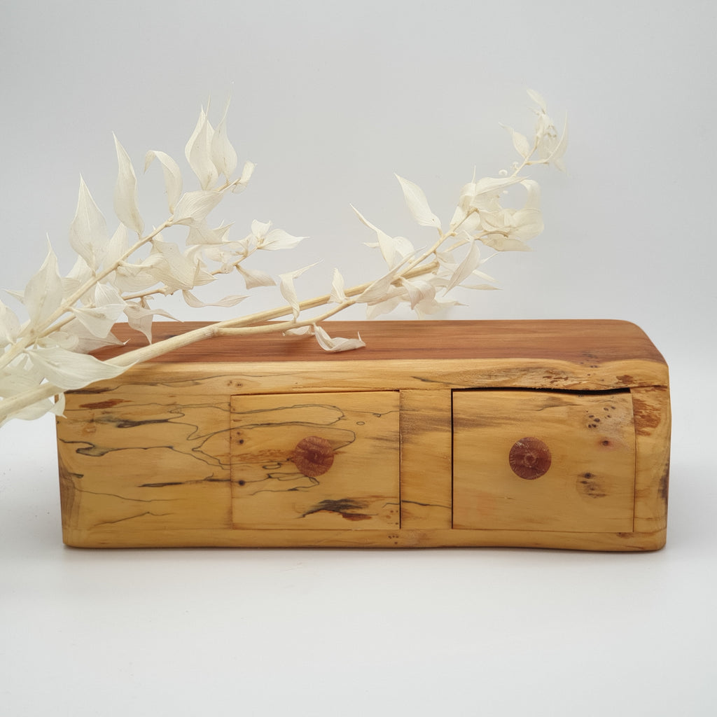 Natural edge wooden box double with secret - Yew