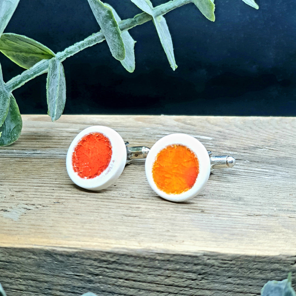 Orange porcelain and glass cuff links