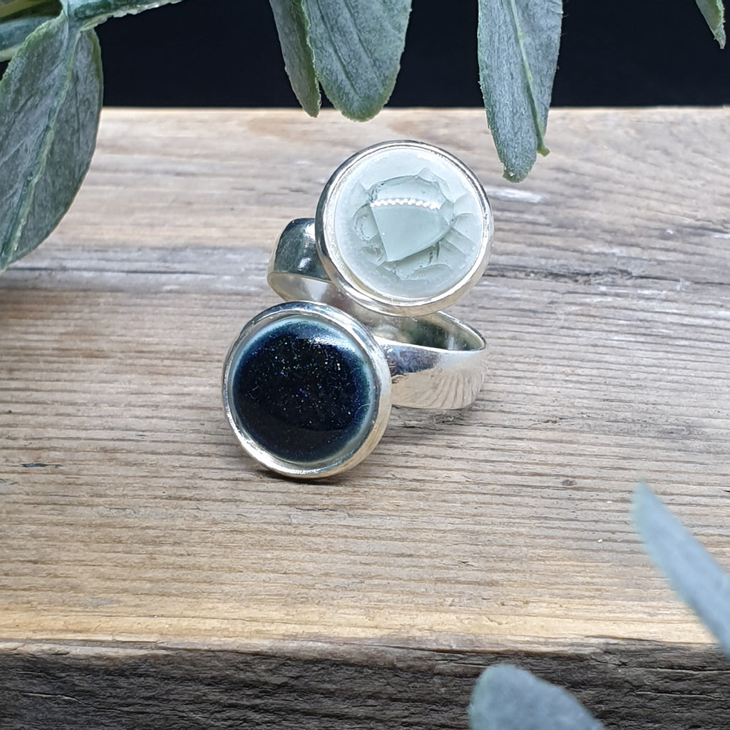 Black and Grey porcelain and glass double ring