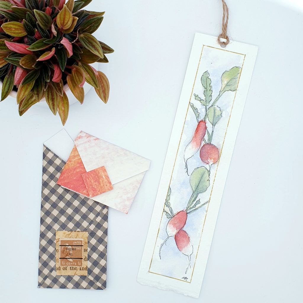 Original Watercolour Bookmark Radishes with seeds