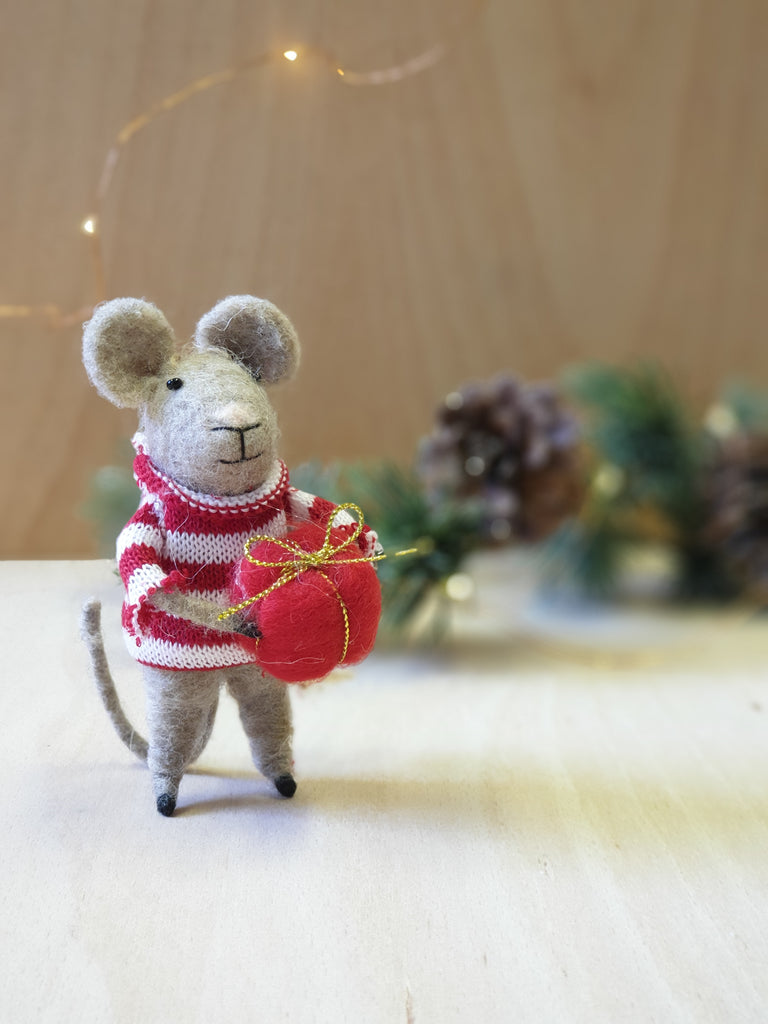 Mouse in striped jumper felt decoration
