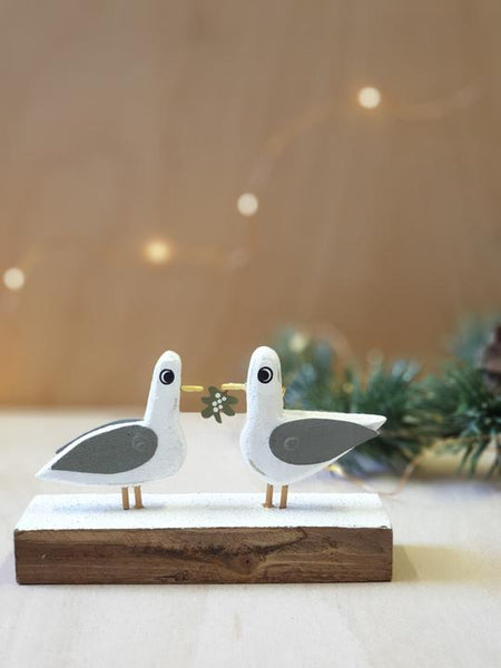 Seagulls with Mistletoe on Block Christmas Ornament