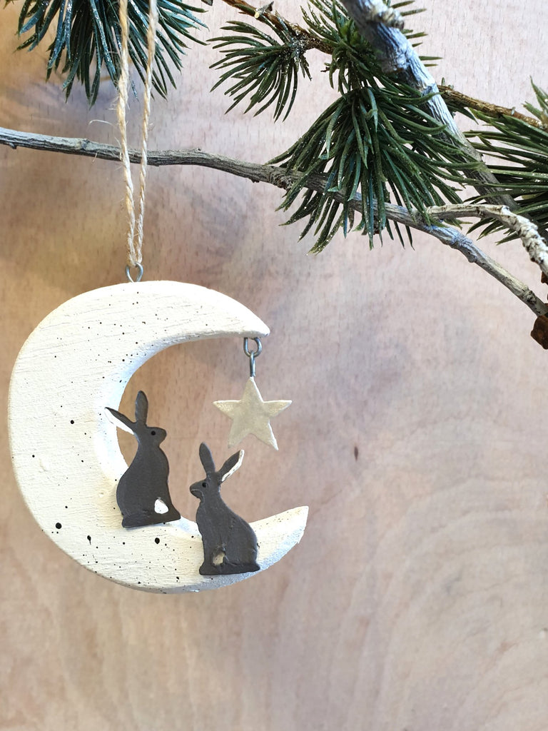 Hares on moon hanging decoration