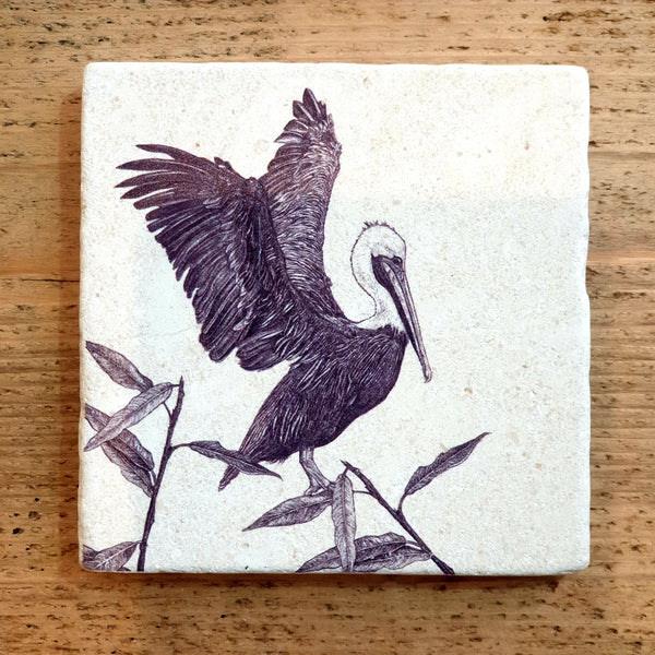 Natural Stone Coaster- Brown Pelican