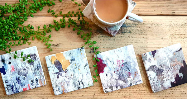 Limited Edition Natural Stone Coaster- Eyed Hawk Moth