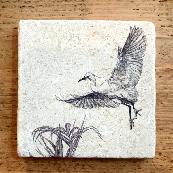 Natural Stone Coaster- Little Egret