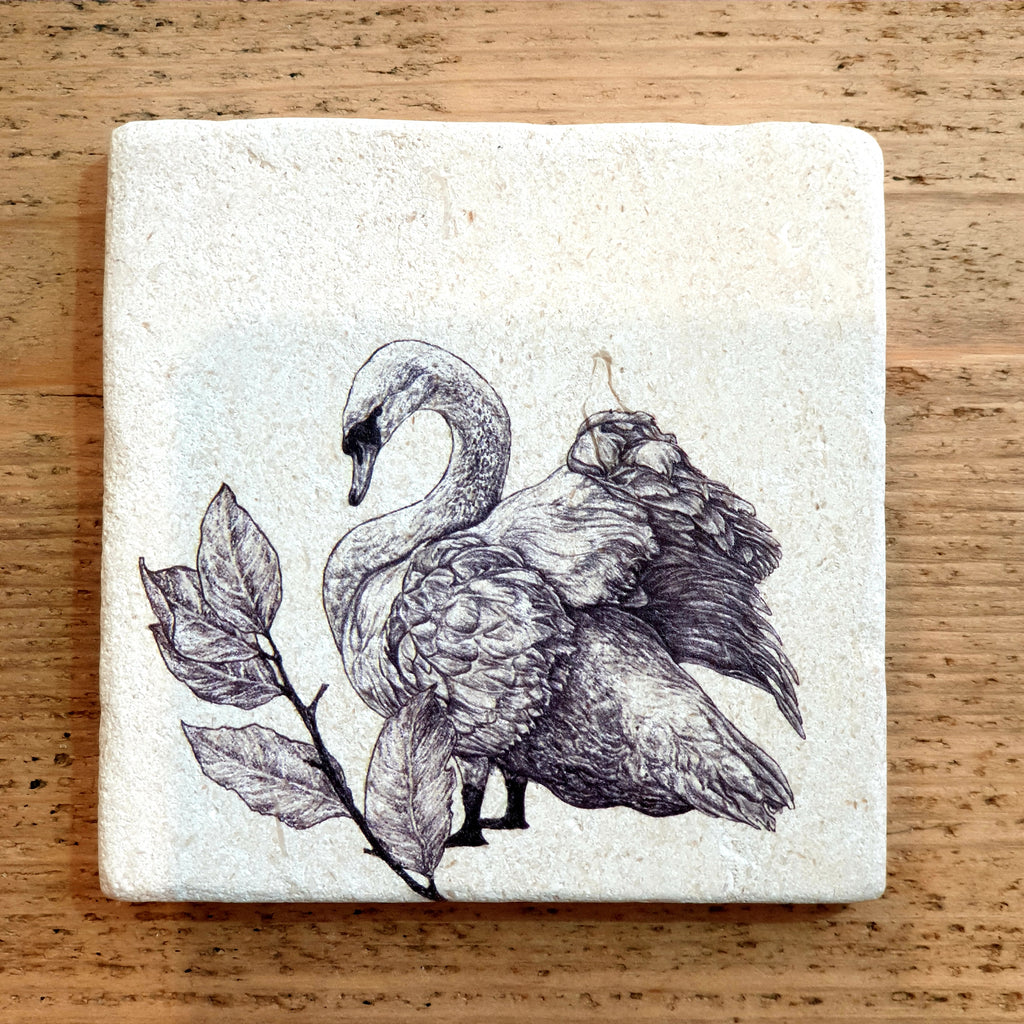 Natural Stone Coaster- Mute Swan