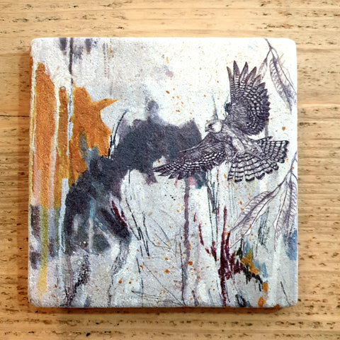 Natural Stone Coaster- Red Footed Falcon