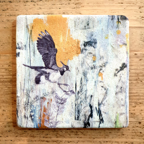 Natural Stone Coaster- Northern Lapwing