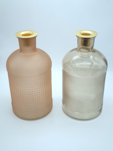 Elisa Glass bottle candle holders - Pink & Grey