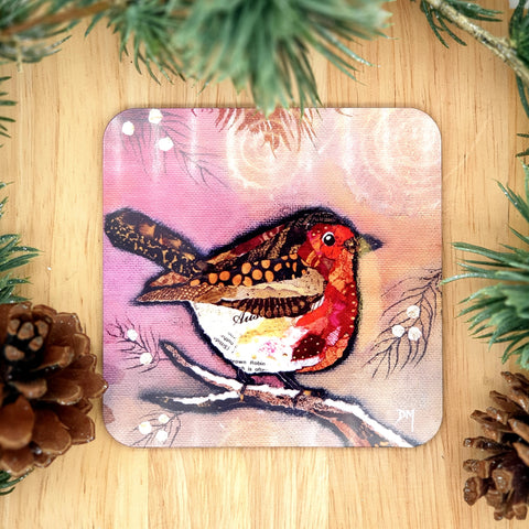 Robin on blush Coaster
