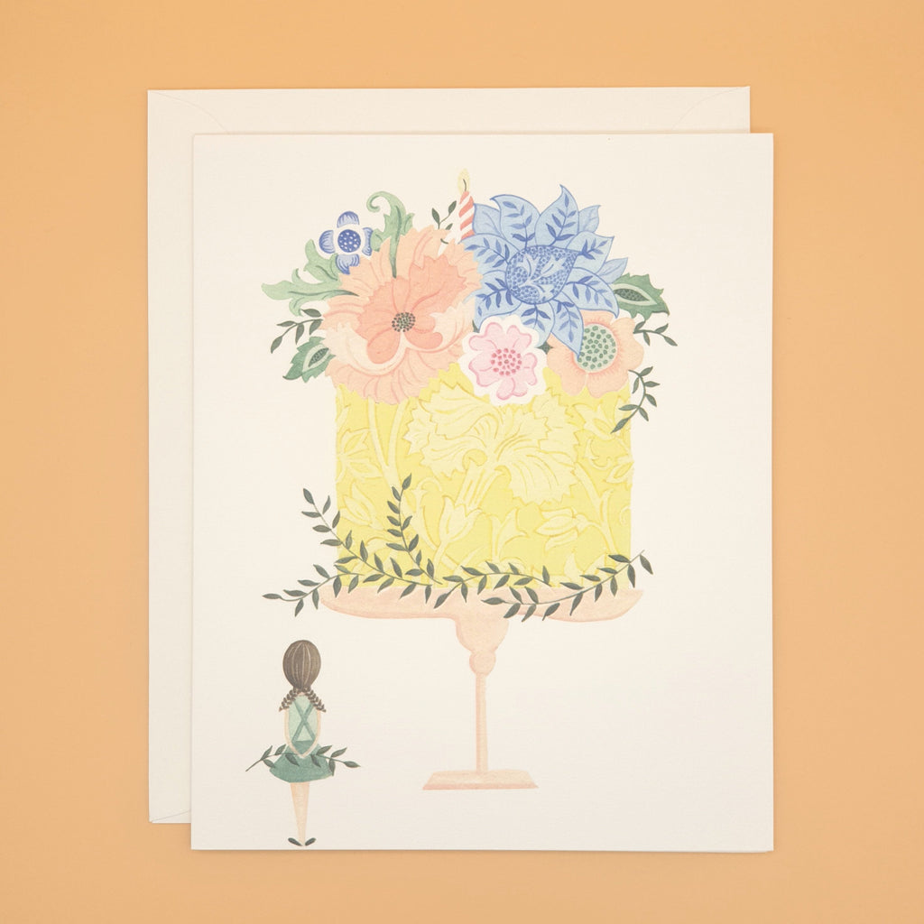 Girl and the floral cake - greetings card