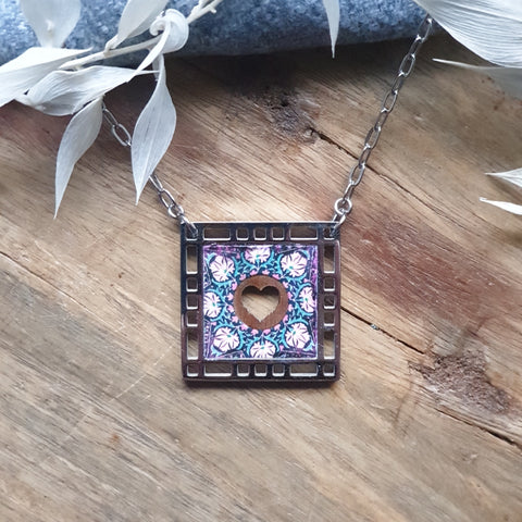 "Walnut Inlay Geometric Square Necklace on 24"" chain"