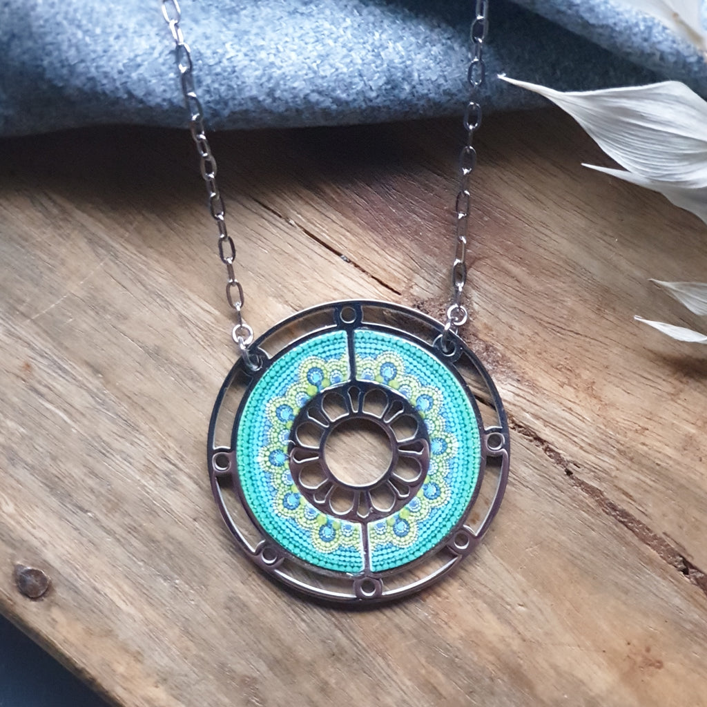 "Walnut Inlay Geometric Circle Necklace on 24"" chain"