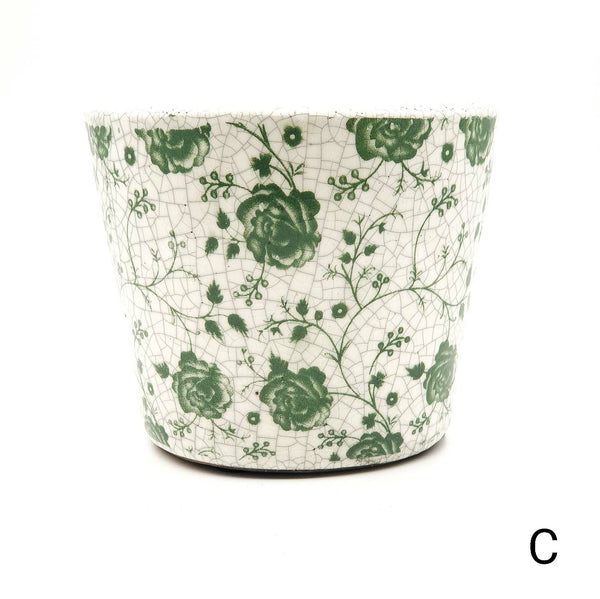 Old style Dutch plant pot - green small