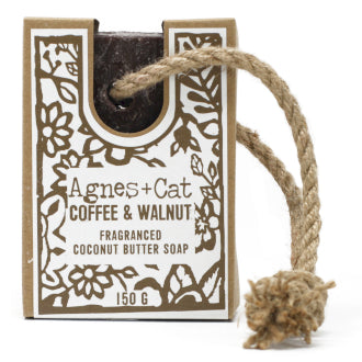 Soap on a rope - Coffee and Walnut