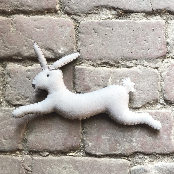 White leaping rabbit- Annie