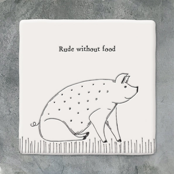 Porcelain Coaster Pig- Rude without Food