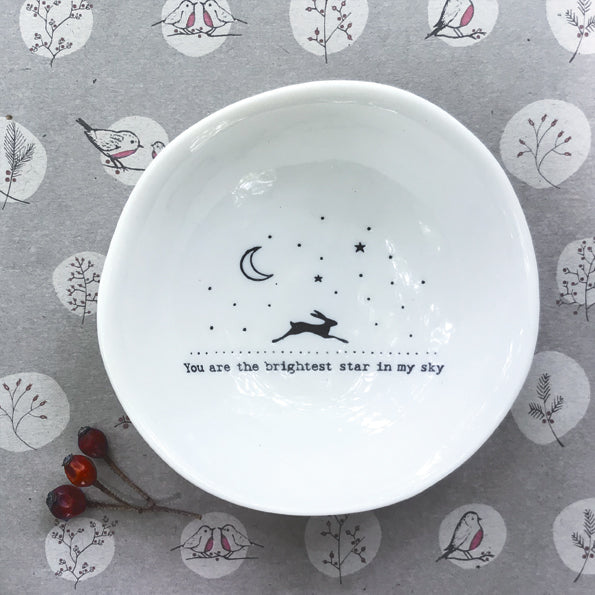 Medium Porcelain Bowl - Brightest star with Hare