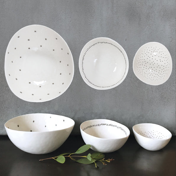 Porcelain Set of 3 bowls-Stars, dashes & dots